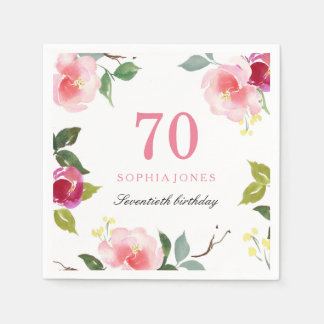 Elegant Pretty Pink Floral 70th Birthday Party Disposable Napkins