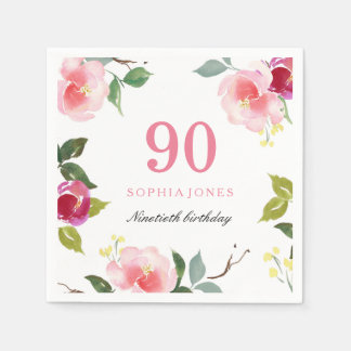 Elegant Pretty Pink Floral 90th Birthday Party Paper Napkins