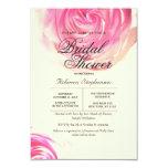 "Elegant Pretty Pink Rose Print 3.5"" X 5"" Invitation Card"