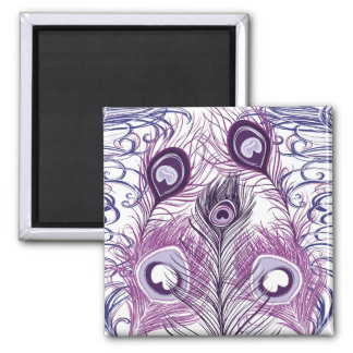 Elegant Pretty Purple Peacock Feathers Design Fridge Magnet