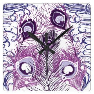Elegant Pretty Purple Peacock Feathers Design Square Wall Clock