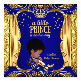 "Elegant Prince Baby Shower Blue Gold Ethnic 5.25"" Square Invitation Card"