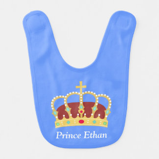 Elegant Prince Crown with Jewels for Baby Boys Bibs
