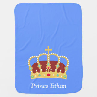 Elegant Prince Crown with Jewels for Baby Boys Stroller Blanket