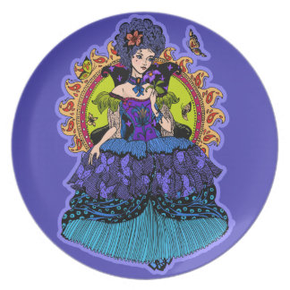 Elegant princess illustration with butterfly plate