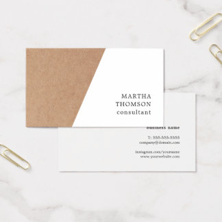 Elegant Printed Kraft White Geometric Consultant Business Card