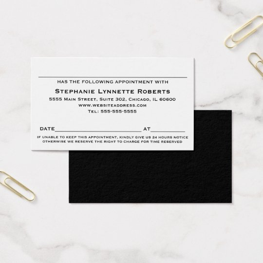 Elegant Professional Appointment Card / Black