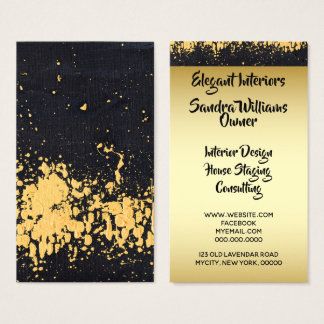 Elegant Professional Black and Faux Gold Modern Business Card