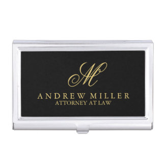 Elegant Professional Black and Gold Monogram Business Card Holder