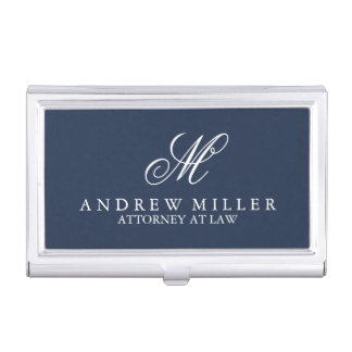 Elegant Professional Navy Monogram Business Card Holder