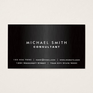 Elegant Professional Plain Black Modern Metal Business Card