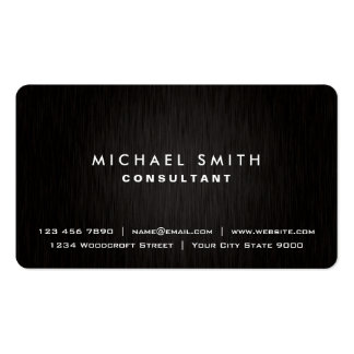 Elegant Professional Plain Black Modern Metal Look Business Card