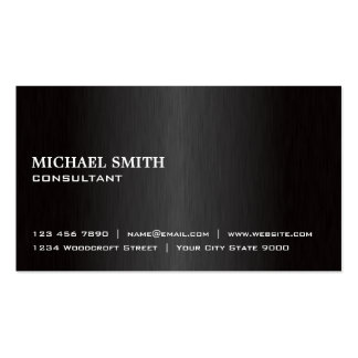 Elegant Professional Plain Black Modern Metal Pack Of Standard Business Cards
