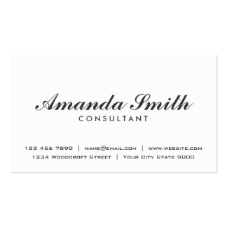 Elegant Professional Plain Modern White Simple Business Card
