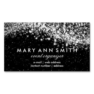 Elegant Professional Silver Sparkling Wave Black Magnetic Business Card