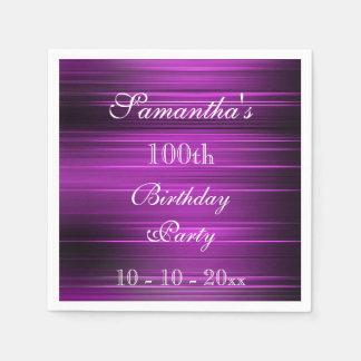 Elegant Psychedelic Purple 100th Birthday Paper Napkins