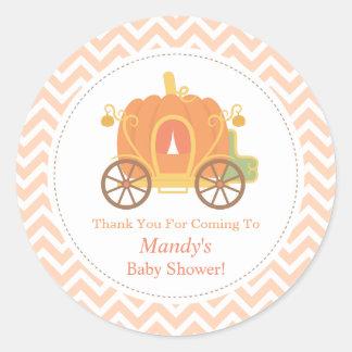 Elegant Pumpkin Carriage Baby Shower Decor Classic Round Sticker