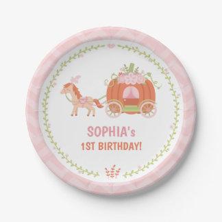 Elegant Pumpkin Carriage Birthday Party Plates
