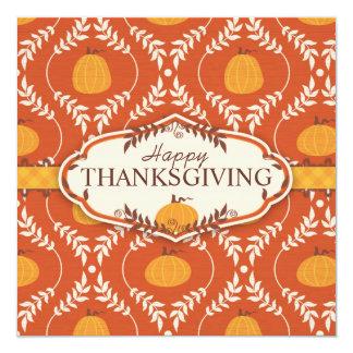 Elegant Pumpkin Damask Print for Thanksgiving Card