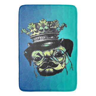 Elegant Puppy Pog Dog - Aqua Graphic Illustration Bath Mat