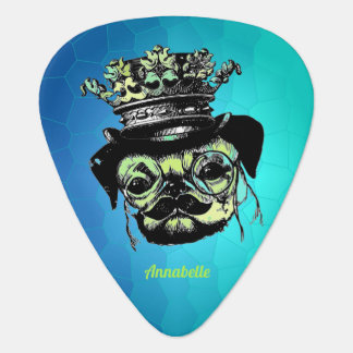 Elegant Puppy Pog Dog - Aqua Graphic Illustration Guitar Pick