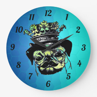 Elegant Puppy Pog Dog - Aqua Graphic Illustration Large Clock