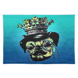 Elegant Puppy Pog Dog - Aqua Graphic Illustration Placemat