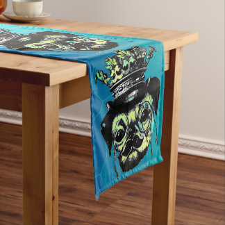 Elegant Puppy Pog Dog - Aqua Graphic Illustration Short Table Runner