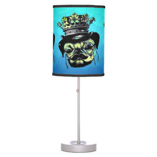 Elegant Puppy Pog Dog - Aqua Graphic Illustration Table Lamp
