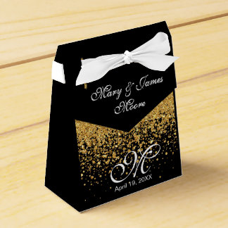 Elegant Pure Gold Confetti Wedding Favor Box