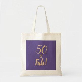 """Elegant Purple """"50 & Fab!"""" 50th Birthday Party Tote Bag"""