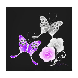 Elegant Purple And Black Butterflies And Roses Stretched Canvas Print