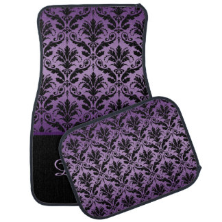 Elegant Purple and Black Damask Monogram Car Mats
