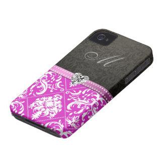 Elegant Purple and Black  Damask with monogram iPhone 4 Case-Mate Case