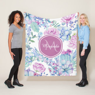 Elegant Purple and Blue Succulent Floral With Name Fleece Blanket