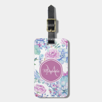 Elegant Purple and Blue Succulent Floral With Name Luggage Tag