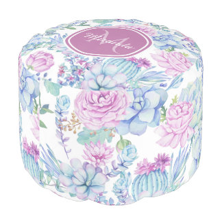 Elegant Purple and Blue Succulent Floral With Name Pouf