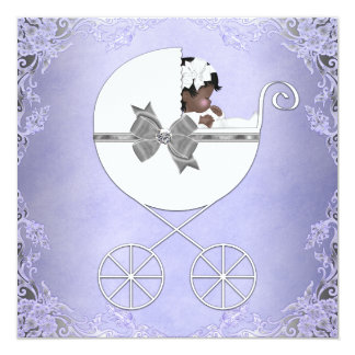 Elegant Purple and Gray Ethnic Baby Girl Shower Card