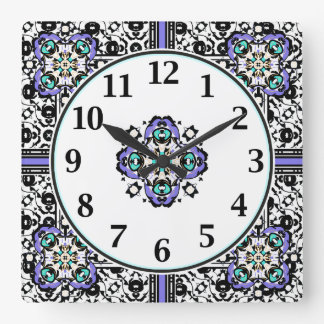 Elegant Purple and Teal Moroccan Arabesques Square Wall Clock