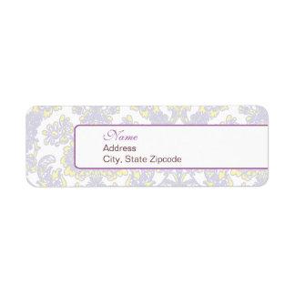 Elegant Purple and Yellow Damask Address Label