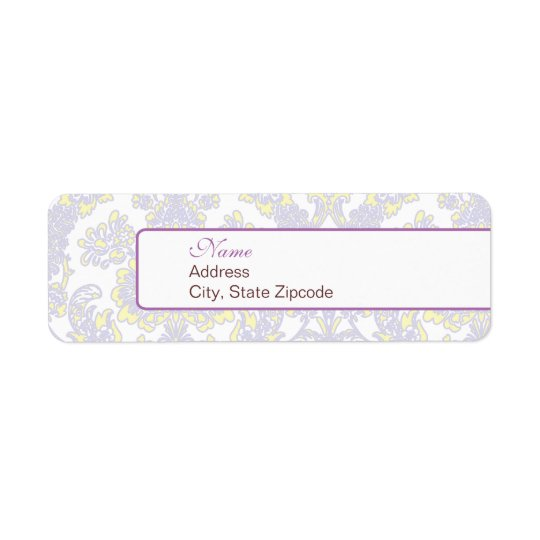Elegant Purple and Yellow Damask Address Label