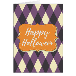 Elegant Purple Black Argyle Happy Halloween Card