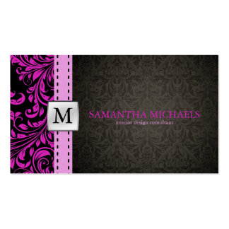 Elegant Purple / Black Damask Interior Design Business Card Templates