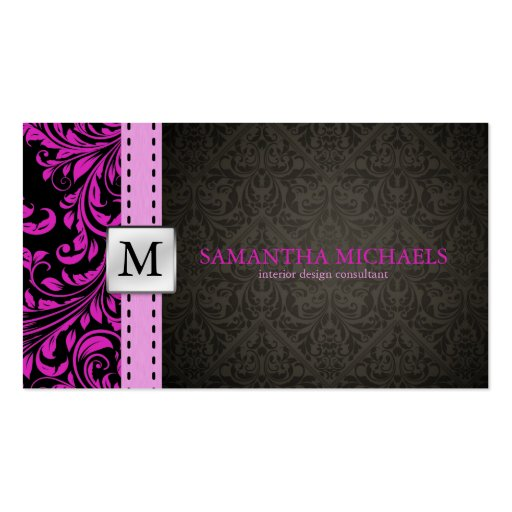 purple black damask interior design business card templates zazzle