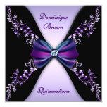 "Elegant Purple Black Diamond Bow Quinceanera 5.25"" Square Invitation Card"