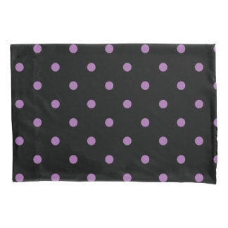 elegant purple black polka dots pillowcase