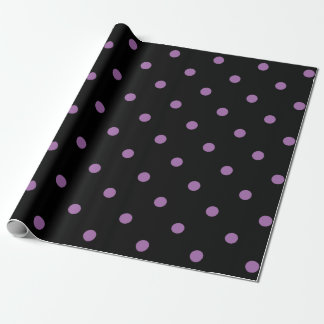 elegant purple black polka dots wrapping paper