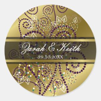 Elegant Purple Boho Spirals Gold Wedding Stickers