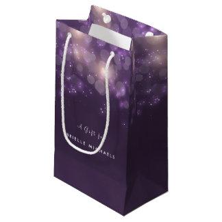 Elegant Purple Bokeh Sparkle Glow With Name Small Gift Bag