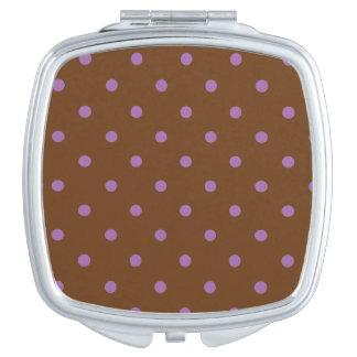 elegant purple brown polka dots vanity mirror